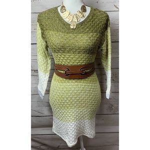 Multiples Green Ombré Cable Knit 3/4 Sleeve Dress